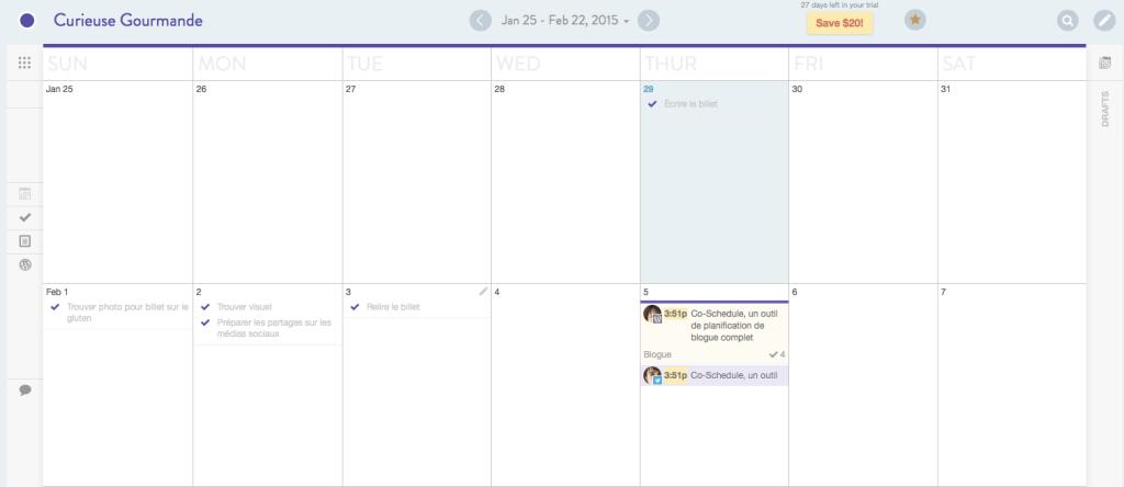 Co-Schedule - Calendrier éditorial | Co-Schedule : un outil puissant de planification de blogue | www.CurieuseGourmande.com