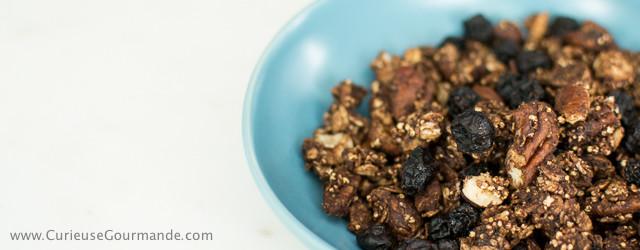Recette de granola maison : cacao, pacanes, noisettes, bleuets séchés | CurieuseGourmande.com